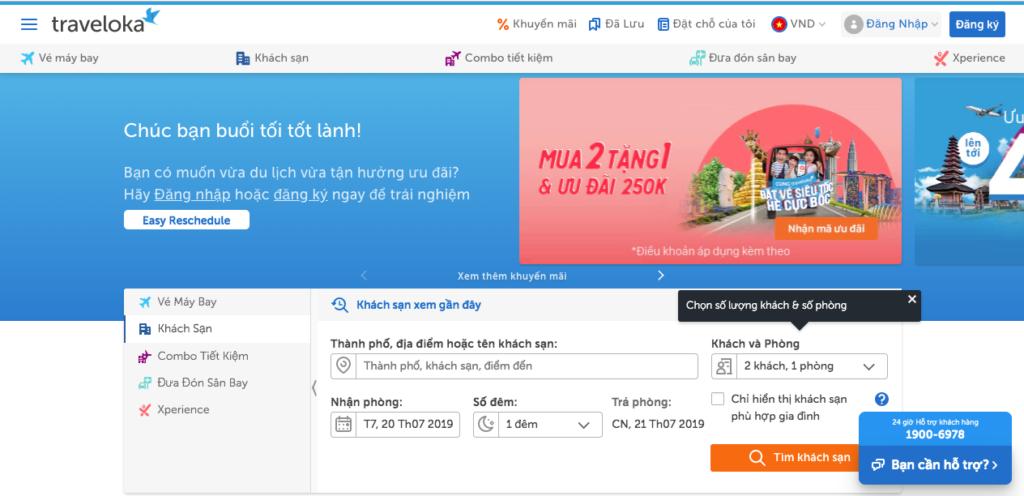 Giao diện web của Traveloka