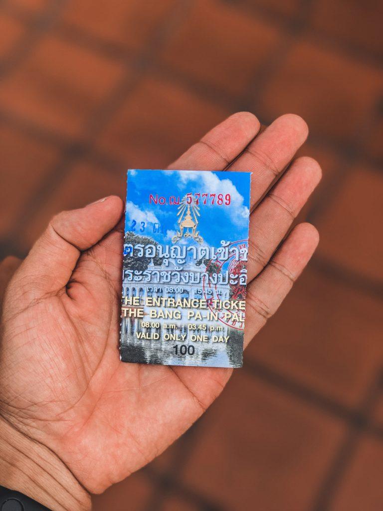 Vé vào cổng cung điện Mùa Hè Thái Lan